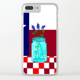 Texas Flag and Blue Bonnets Clear iPhone Case