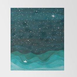 Starry Ocean, teal sailboat watercolor sea waves night Throw Blanket