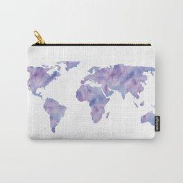 World Map Light Blue Purple Indigo Carry-All Pouch
