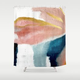 Exhale: a pretty, minimal, acrylic piece in pinks, blues, and gold Shower Curtain