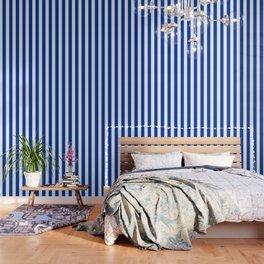Royal azure - solid color - white vertical lines pattern Wallpaper