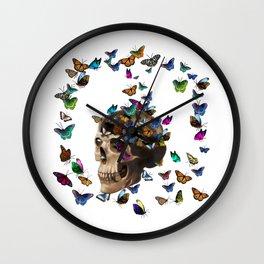 Butterflies and a skull Wall Clock