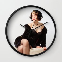 """""""Fur Coat #1"""" - The Playful Pinup - Sexy Vintage Pinup in Fur Coat by Maxwell H. Johnson Wall Clock"""