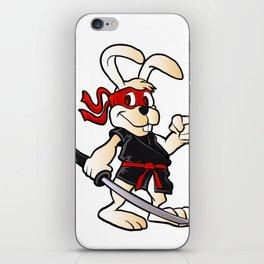 ninja rabbit cartoon iPhone Skin