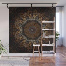 Rich Brown and Gold Textured Mandala Art Wall Mural