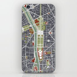 Paris city map engraving iPhone Skin