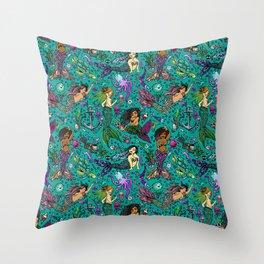 Ethnic Mermaid's Throw Pillow