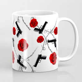 Roses Barbed Wire Guns Pattern Love Is War Coffee Mug