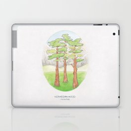 Haruki Murakami's Norwegian Wood // Illustration of a Forest and Mountains in Pencil Laptop & iPad Skin
