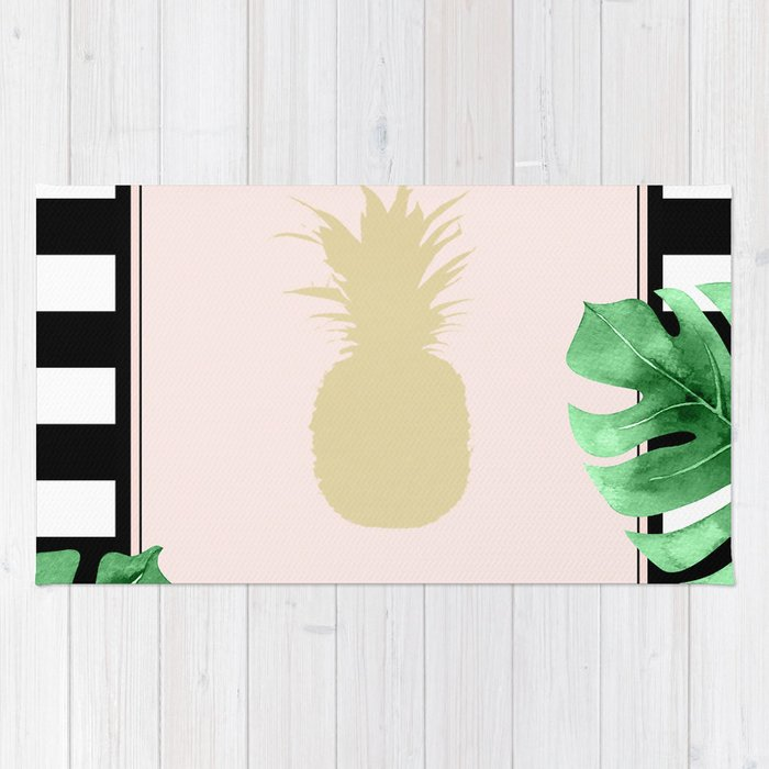 Chic Pineapple & Tropical Leaves Rug