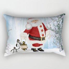 Santa Claus with funny penguin Rectangular Pillow