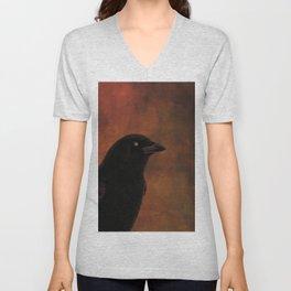 Crow Portrait In Black And Orange Unisex V-Neck