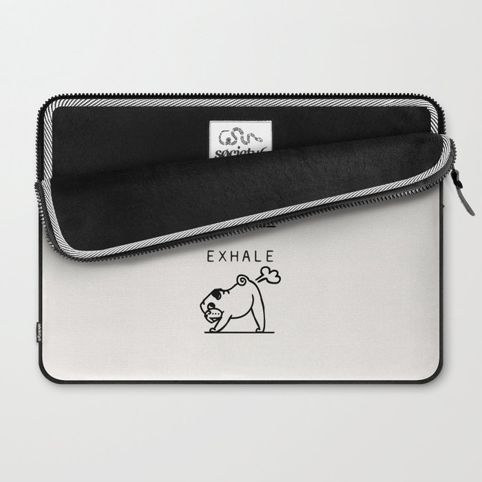 Inhale Exhale Pug Laptop Sleeve