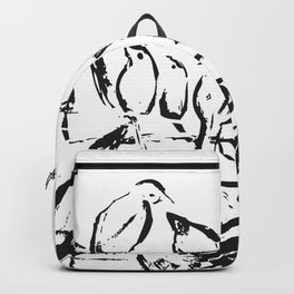 Birds white and black drawing illustration Backpack