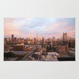 Manhattan City Skyline from Queens at Sunrise Rug