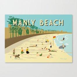 Manly Beach Retro Art Print Canvas Print