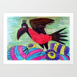 Crow in sweets planet Art Print