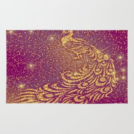 Sparkling Red & Yellow Peacock Rug