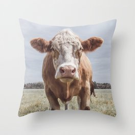 Animal Photography | Cow Portrait Photography | Farm animals Throw Pillow