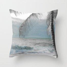 White Coconut Palm Tree Throw Pillow