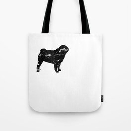 I Rescued My Best Friend Pug Dog Silhouette design Grunge Tote Bag