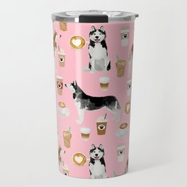 Husky siberian huskies coffee cute dog art drinks latte dogs pet portrait pattern Travel Mug