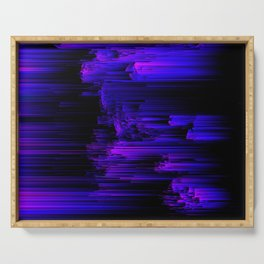 Ultraviolet Light Speed - Abstract Glitch Pixel Art Serving Tray