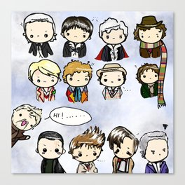 Kawaii Doctors (1 to 12 and War) Doctor Who Canvas Print