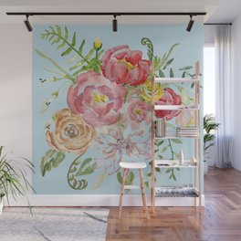 Bouquet of Watercolor on Blue Background Wall Mural