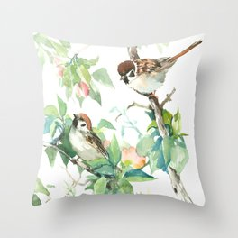 Sparrows And Apple Blossom Throw Pillow
