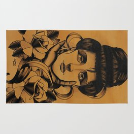 WOMAN and Roses - TATTOO Rug