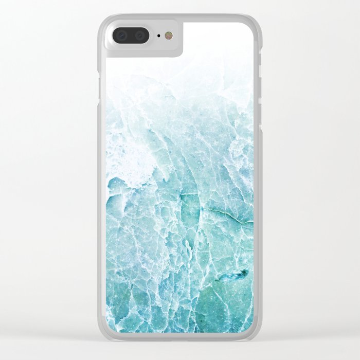 Sea Dream Marble - Aqua and blues Clear iPhone Case