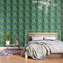 Moroccan Quatrafoil Pattern, Vintage Stained Glass, Blue, Green and Gold Wallpaper