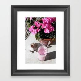 Strawberry milkshake and a frog Framed Art Print