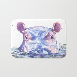 Happy Hippo Watercolor Painting Bath Mat