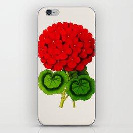 Vintage Scientific Floral Illustration Large Red Flowers Cranesbill Geranium iPhone Skin