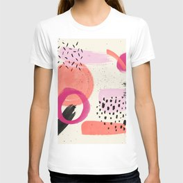 Abstract pink black coral geometric minimalist paint watercolor T-shirt