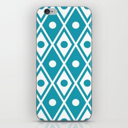 Harlequin Pattern Cerulean Blue iPhone Skin