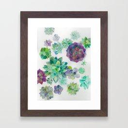 minimalist watercolor succulent arrangement Framed Art Print