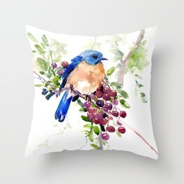 Bluebird and Berries Throw Pillow