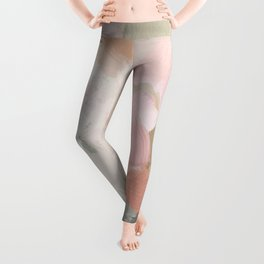 Forest Green Fuchsia Blush Pink Abstract Flower Spring Painting Art Leggings
