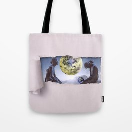 Untimely Ripped Voyeur Views: The World is in Our Hands Tote Bag