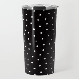 Minimal- Small white polka dots on black - Mix & Match with Simplicty of life Travel Mug