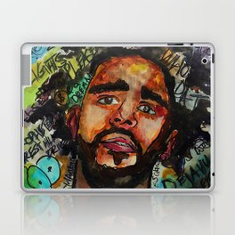 J cole,kod,album,music,rap,cole world,hiphop,rapper,masculine,cool,fan art,wall art,portrait,paint Laptop & iPad Skin