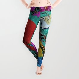 TROPICAL ORCHIDS RED MACAW PARROT JUNGLE ART Leggings