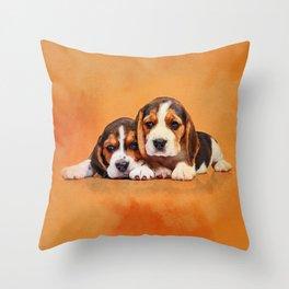 Cute Beagle puppies Throw Pillow