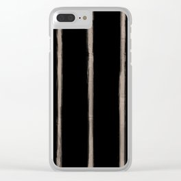 Skinny Strokes Gapped Vertical Nude on Black Clear iPhone Case
