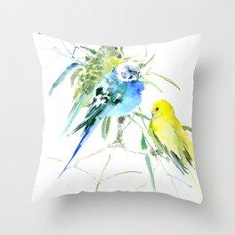 Parakeets Throw Pillow