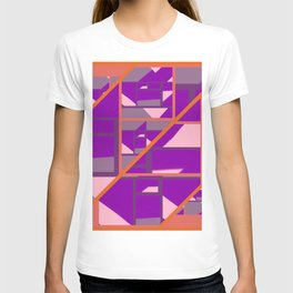 Outspoken Orange with patterns of pink, purple and mauve T-shirt