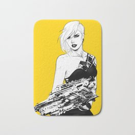 Arbitrary - Badass girl with gun in comic and pop art style Bath Mat